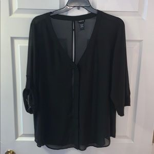 Completely sheer button down blouse